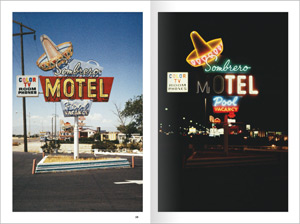 "Double page du livre de Toon Michiels ""Neon signs by day & night"" aux Editions Marval"
